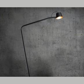Frezoli Pliz Vloerlamp Mat Zwart met koperen kap